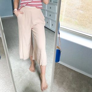 Leith Wide Leg Cropped Beige Pants Size Small